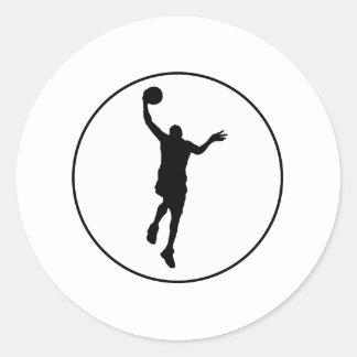 Círculo del Layup del baloncesto Etiquetas Redondas