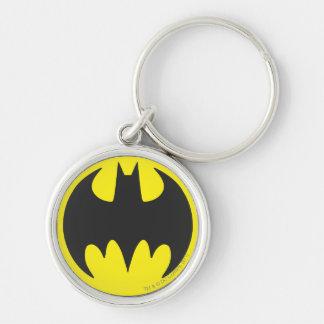 Círculo del logotipo del palo de Batman Llavero Redondo Plateado