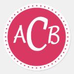 círculo del monongram - rosa etiquetas redondas
