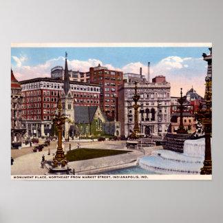 Círculo del monumento de Indianapolis, Indiana de  Póster