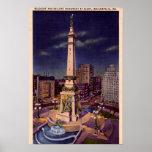 Círculo del monumento de Indianapolis Indiana en l Posters
