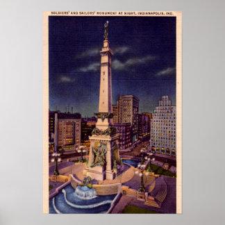Círculo del monumento de Indianapolis Indiana en l Póster