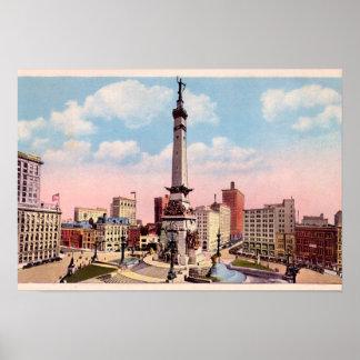 Círculo del monumento de Indianapolis, Indiana Póster