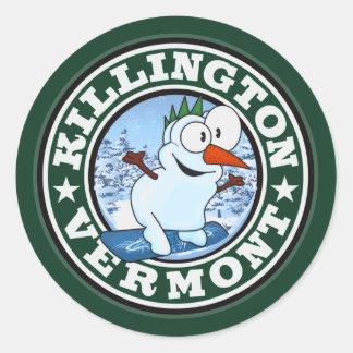Círculo del muñeco de nieve de Killington Pegatina Redonda