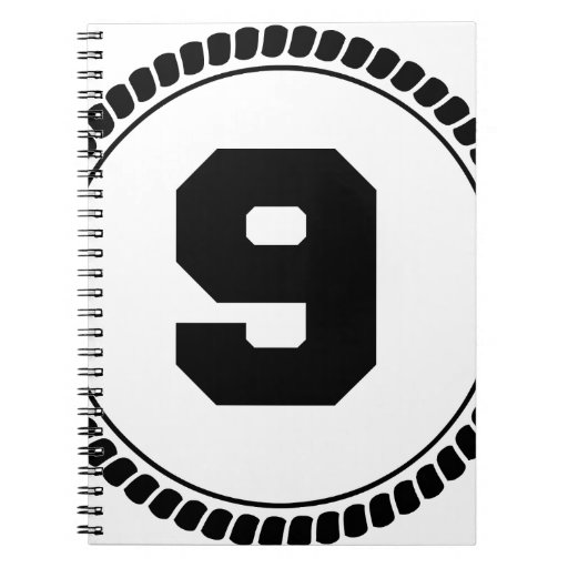 Círculo del número nueve cuaderno