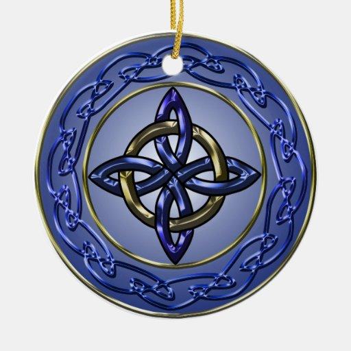 Círculo del ornamento del árbol del nudo de la adorno navideño redondo de cerámica