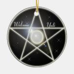 Círculo del ornamento del árbol del Pentagram que  Ornato