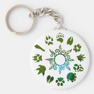 círculo del pawprint verde oscuro llavero