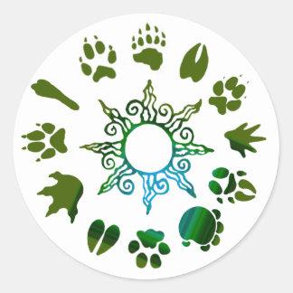 círculo del pawprint verde oscuro pegatina redonda