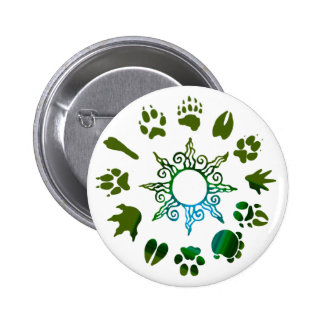 círculo del pawprint verde oscuro pins