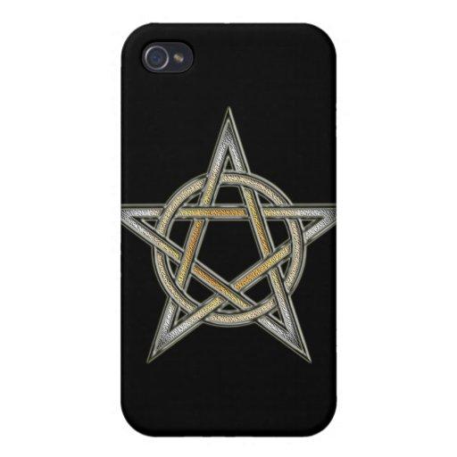 Círculo del Pentagram del orgullo del oso entrelaz iPhone 4/4S Fundas