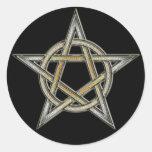 Círculo del Pentagram del orgullo del oso Etiquetas Redondas
