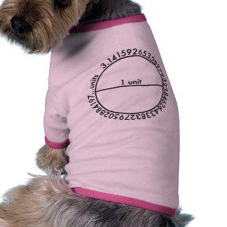 Círculo del pi camiseta con mangas para perro