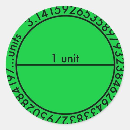Círculo del pi pegatina redonda