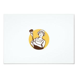 """Círculo del plumero del limpiador de la criada invitación 3.5"""" x 5"""""""