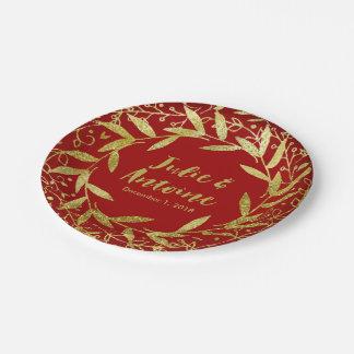 Círculo del rojo del brillo el | del oro de la platos de papel