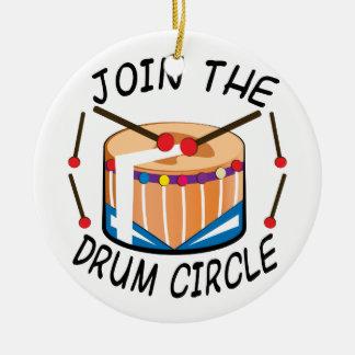 Círculo del tambor adorno navideño redondo de cerámica