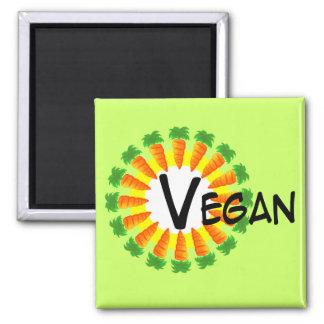Círculo del vegano de Sun de las zanahorias Imán Cuadrado
