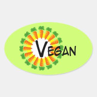 Círculo del vegano de Sun de las zanahorias Pegatina De Ovaladas