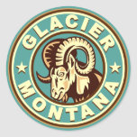 Círculo del vintage del glaciar pegatina