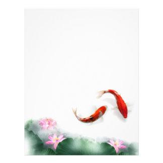 Círculo del zen oriental Feng Shui Koi y Lotus de  Tarjetón