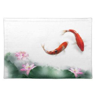 Círculo del zen oriental Feng Shui Koi y Lotus de  Mantel
