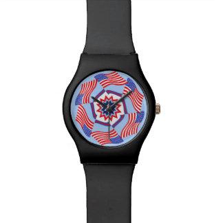 Círculo dinámico de la bandera americana relojes de mano