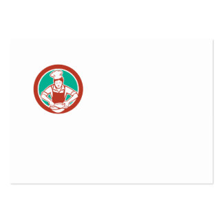 Círculo femenino del bol grande del cocinero retro tarjetas de visita