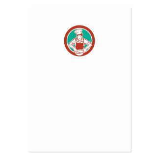 Círculo femenino del bol grande del cocinero retro plantilla de tarjeta de visita