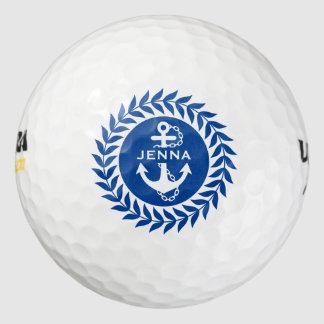 Círculo floral azul y blanco y ancla náutica pack de pelotas de golf