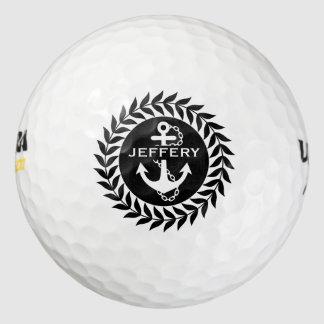 Círculo floral negro y blanco y ancla náutica pack de pelotas de golf