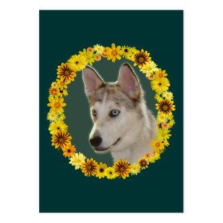 Círculo fornido del perro de flores tarjetas personales
