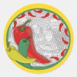 Círculo Frame2 del grupo de la pimienta de chile Pegatinas Redondas