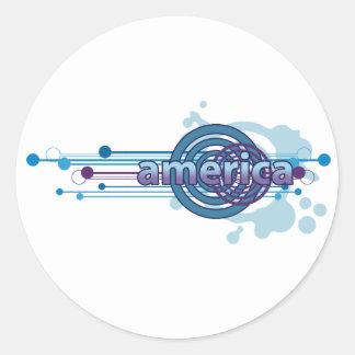 Círculo gráfico azul América Pegatina Redonda