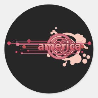 Círculo gráfico rosado América Pegatina Redonda