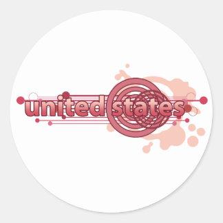 Círculo gráfico rosado Estados Unidos Pegatina Redonda