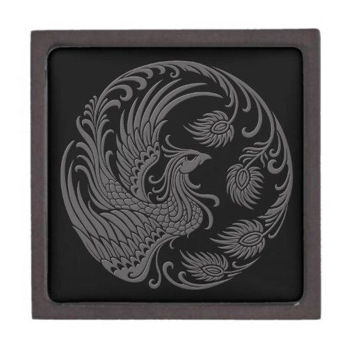 Círculo gris tradicional de Phoenix en negro Caja De Joyas De Calidad
