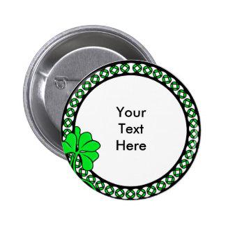 Círculo irlandés de encargo del trébol del KRW Pin Redondo De 2 Pulgadas