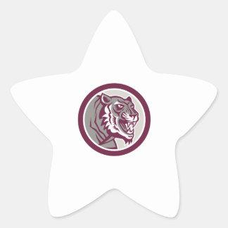Círculo lateral el gruñir principal del tigre pegatinas forma de estrella
