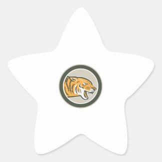 Círculo lateral el gruñir principal enojado del calcomania forma de estrella personalizadas
