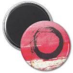 Círculo magenta del zen imán redondo 5 cm