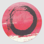 Círculo magenta del zen pegatina redonda