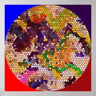 Círculo mágico - modelos manchados del cristal póster