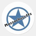 Círculo Massachusetts Pegatinas Redondas