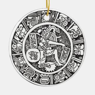 Círculo maya, jeroglífico mexicano (maya) adorno navideño redondo de cerámica