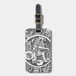 Círculo maya, jeroglífico mexicano (maya) etiqueta de maleta