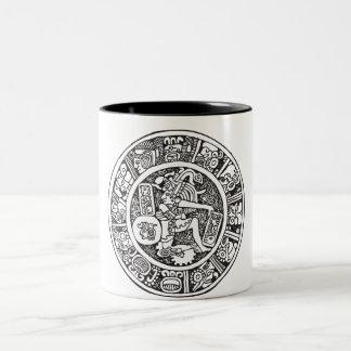 Círculo maya, jeroglífico mexicano (maya) taza de café de dos colores