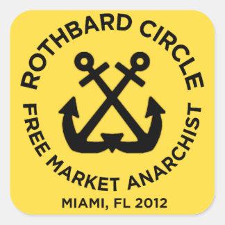 círculo Miami del rothbard Pegatina Cuadrada