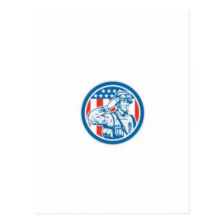Círculo militar del saludo del militar del soldado tarjetas postales