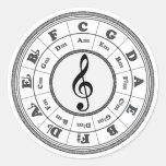 Círculo musical de quintos pegatina redonda
